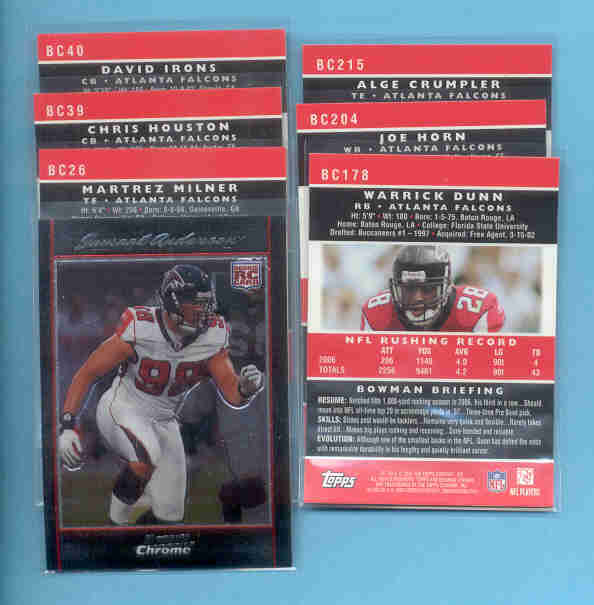 2007 Bowman Chrome Atlanta Falcons Football Set