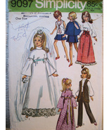 Simplicity 9097 OOP Vintage 70s Barbie Doll Pattern Wedding - $9.95