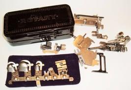 Greist Sewing Machine Rotary Attachments Vtg Parts w/Metal Case 5 stitch... - $24.72