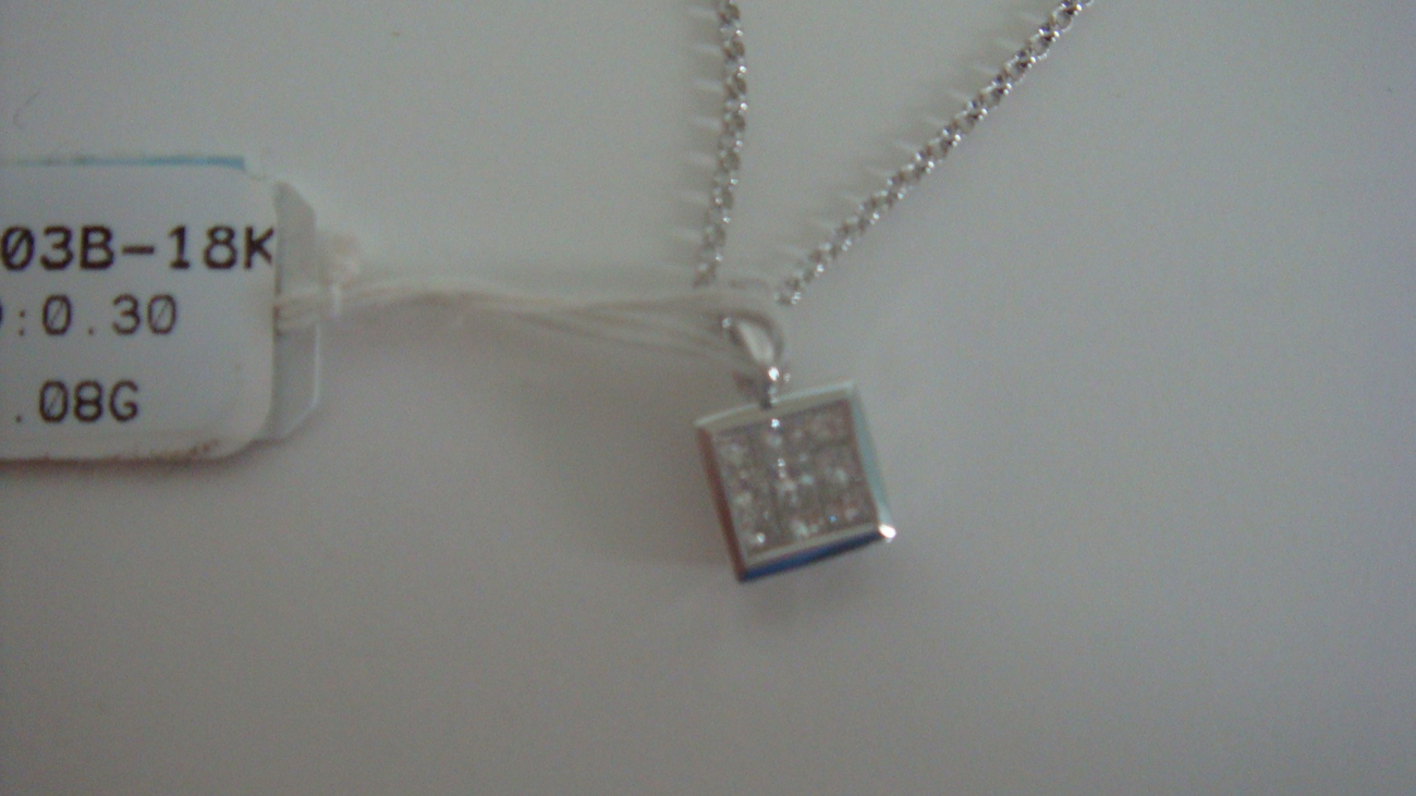 18K White Gold Princess Cut Diamond Pendant~Brand New