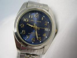 L40, MILAN Ladies Silver Tone Flex Band, Blue Faced Watch, Date, wb - $15.99