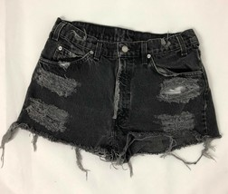 Women's LEVI'S 550 Cut off Custom Distressed Denim Shorts 32 High Waist Black - $24.74
