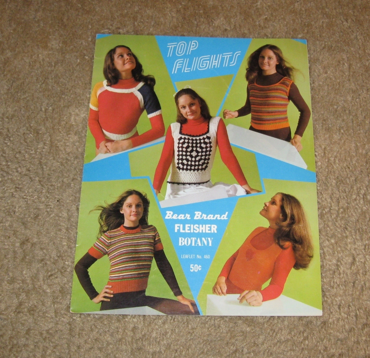 Vintage/Retro 1971 Top Flights Leaflet No. 460 Knit & Crochet-Bear Brands