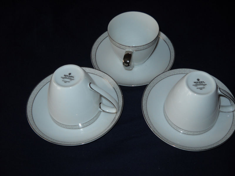 Mikasa Aristocrat tea cups/saucers (8 available)