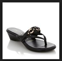 "Italian Shoemakers ""Wisteria"" Wedge Thong Sandal Black size 12  Med - $28.04"