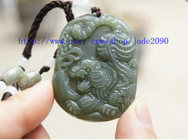 Free Shipping - Hand carved Natural Green jadeite jade carved Tiger charm jade p - $25.99