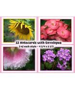 Note Cards  Flower Designs ~ Set of 12 - $12.00