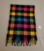 Attention Men's Multi Color Squares  Fringe 100% Acrylic Scarf NWT One Size - $12.61
