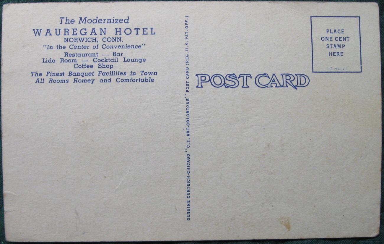 Curt Teich, White Border, Linen, color postcard, Wauregan Ho