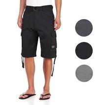 JMC Men's Premium Cotton Slim Fit Cargo Shorts With Woven Belt