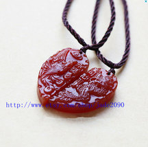 Free Shipping -  Dragon and Phoenix , Natural red jade carved Dragon Phoenix  ch - $19.99