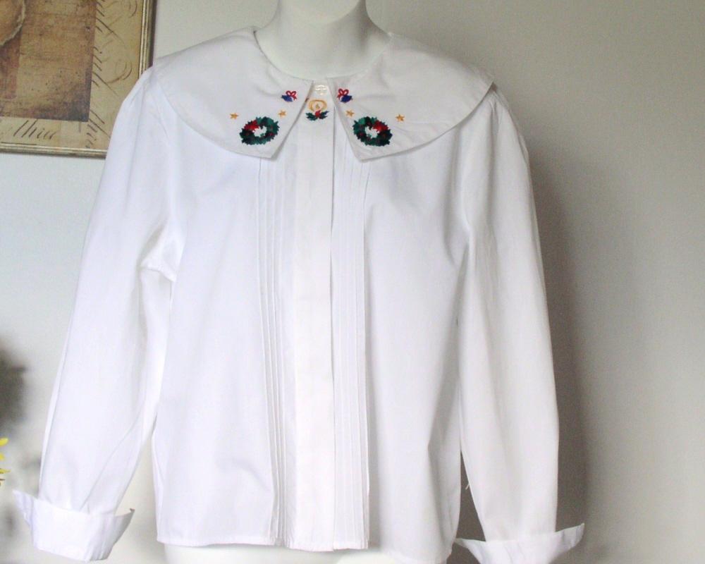 Christmas Blouse Cotton White
