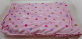 "Just Born Pink Baby Blanket Polka Dot Sherpa 28"" x 36"" - $37.60 CAD"