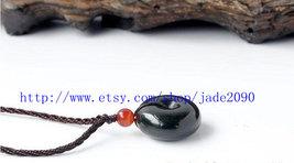 Free Shipping -  Natural black  jade Blessing charm jade Ring Pendant  -jade2090 - $19.99
