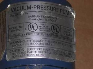 BARNANT 400-1901 VACUUM PRESSURE PUMP 115V COLE-PARMER