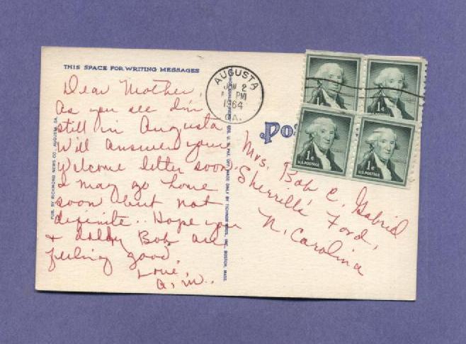 Big Letter Linen Postcard Vintage 1964 Greetings Augusta GA 1960s