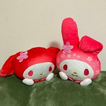 My Melody Sakura Cherry Blossom Sleeping Big Plush 2 Set Pink Red Sanrio 1 - $86.87