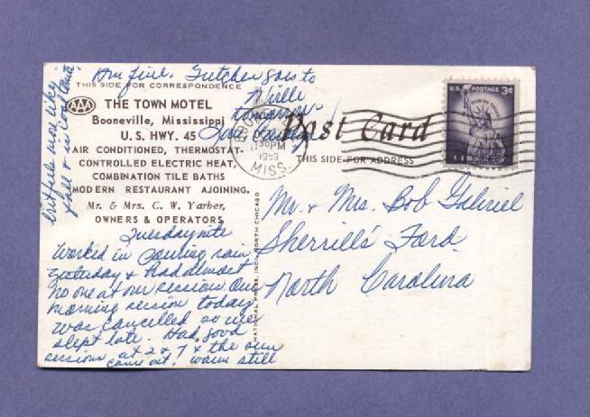 Vintage Postcard 1959 Vintage Cars Town Motel Booneville Mississippi