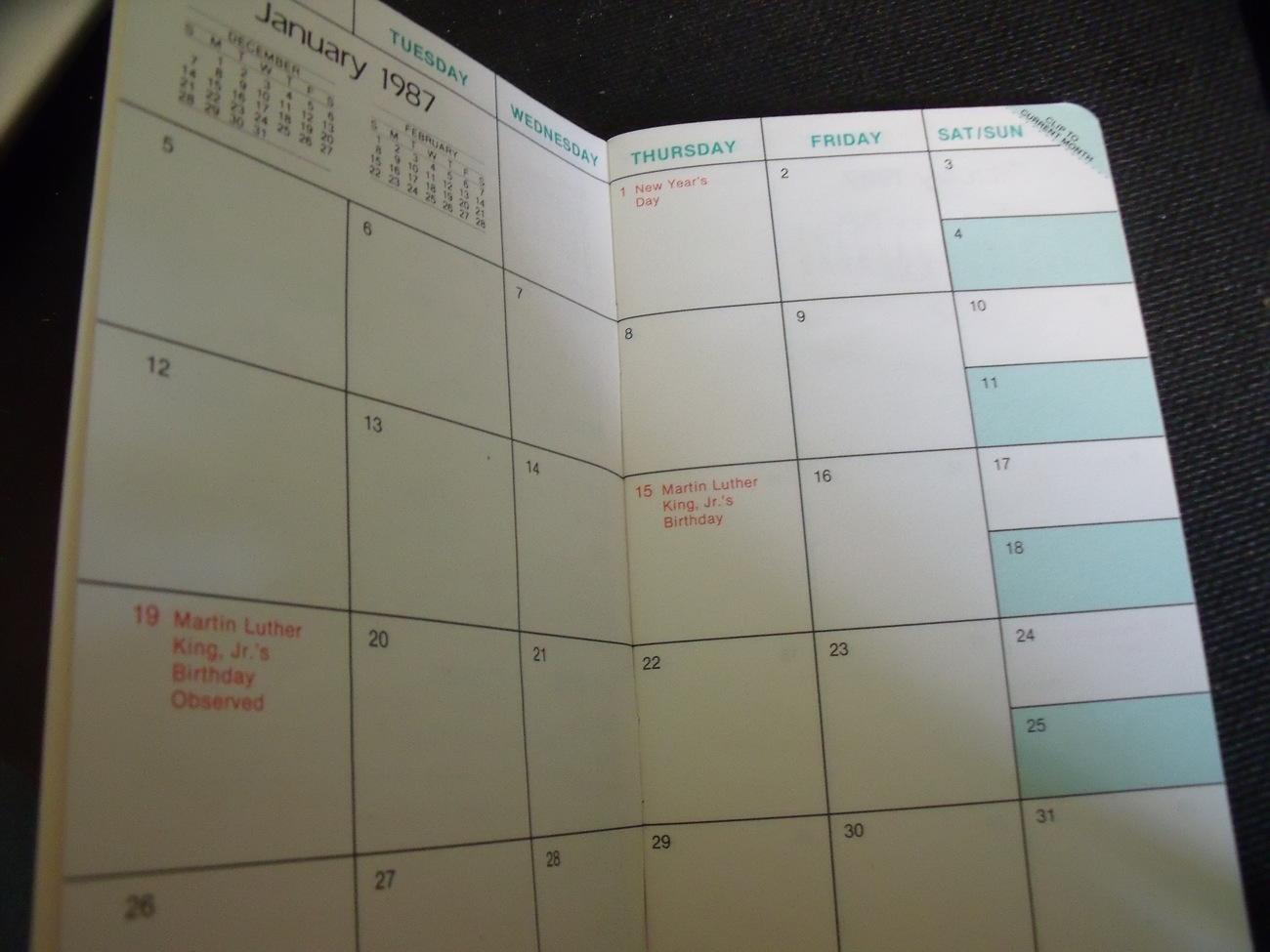 2015 Calendar which is Original 1987 Genuine GM Pocket Calendar