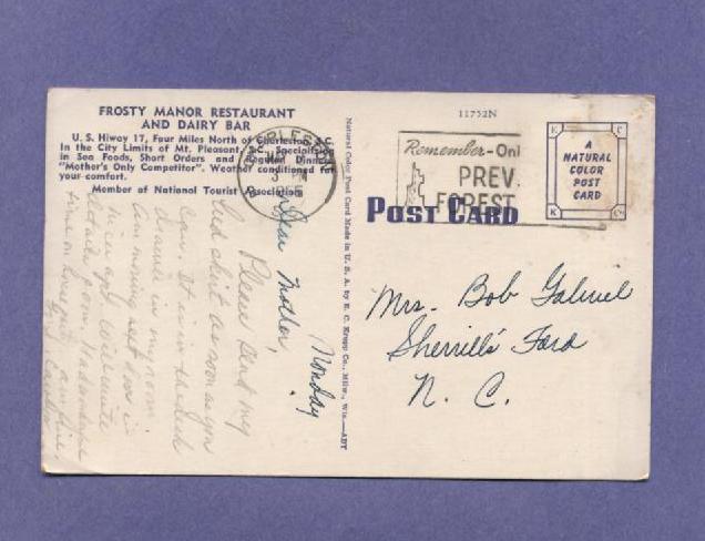 Vintage Linen 1966 Postcard Frosty Manor Dairy Bar Mount Pleasant SC
