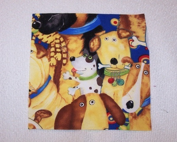 "Primary image for Happy Dog Faces Cotton Quilt 5"" x 5"" Squares - 24 Pcs"
