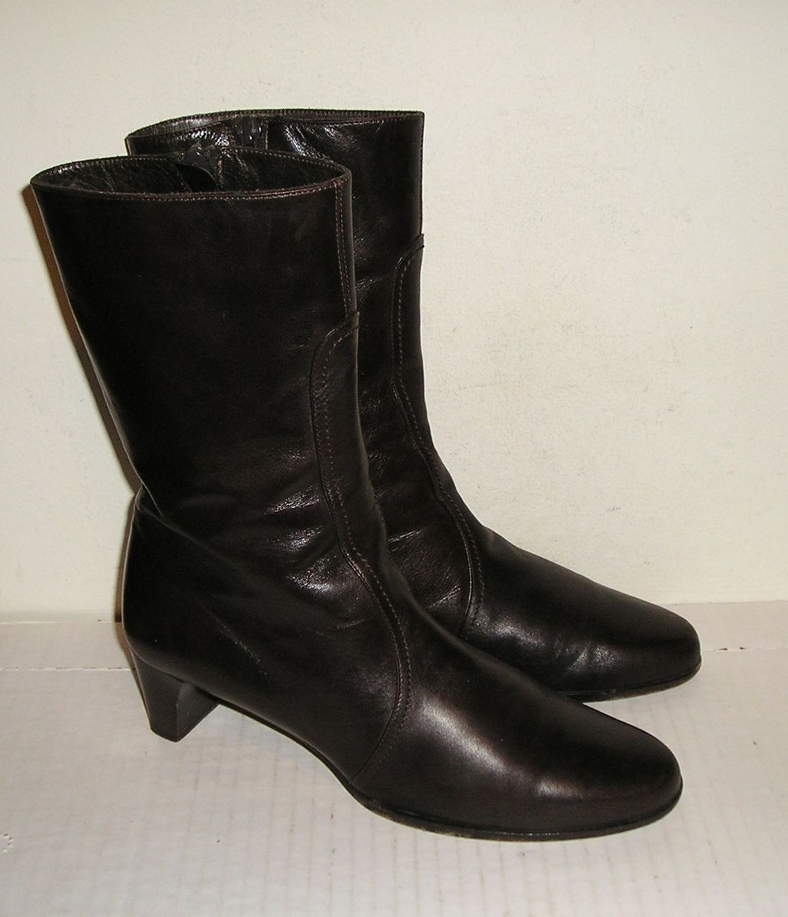 3a55ad68f44 Cole haan women s italian brown leather dress mid calf boots 6.5 b 1