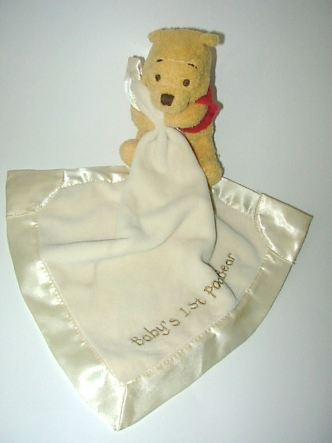Disney Winnie the Pooh Baby's 1st Pooh Bear Security Blanket Lovey Cream Plush