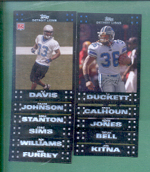 2007 Topps Detroit Lions Football Set