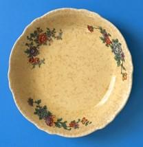Vtg Homer Laughlin Yellow Floral Bowl Speckled Scalloped Rim Flower Prin... - $14.84