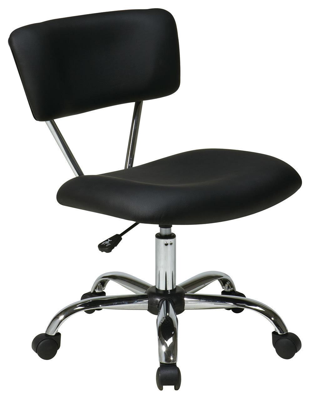 Vista Task Chair - BLACK Accent Desk Swivel Office Chair W/Chrome Frame