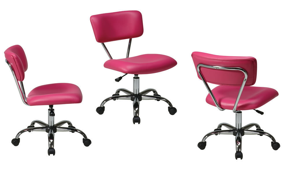 Vista Task Chair - PINK Desk Swivel Office Chair Chrome Frame & Casters