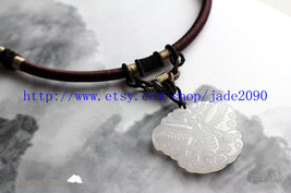 Free Shipping -  white jade jadeite Butterfly , natural white jade Butterfly cha - $19.99