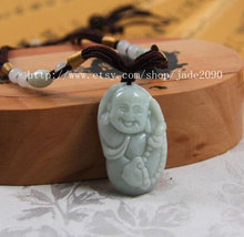 Free shipping - Hand carved  Natural light green  jade Laughing Buddha charm pen - $25.99