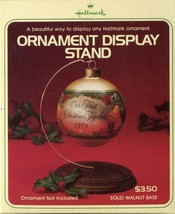 Hallmark Ornament Display Stand in Box Solid Walnut Wood Base - $5.93