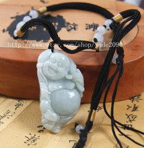 Free shipping - Natural light green  jade Laughing Buddha charm pendant - jade20 - $29.99