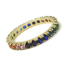 SOLID 18K YELLOW GOLD ETERNITY BAND RING, MULTI COLOR, RAINBOW CUBIC ZIRCONIA image 1