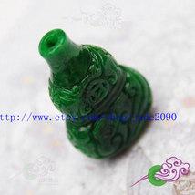 Free Shipping -  jade Vase , HAND-CARVED Natural Green jadeite jade Vase charm P - $25.99