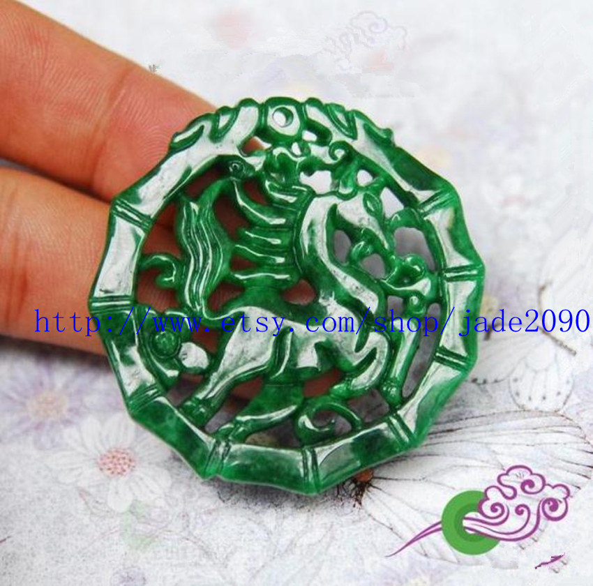 Primary image for Free Shipping - green horse, Hand- carved Natural green Horse jadeite jade charm
