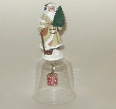 Father Christmas Santa Claus Kris Kringle Old Fashioned Figurine Glass Bell - $7.00