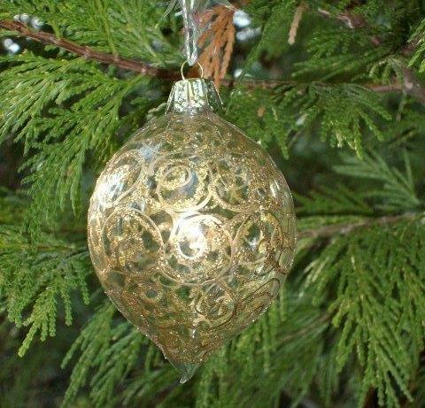 Glass GOLD SCROLL and GLITTER Ornament - Very Unique and Pretty!!