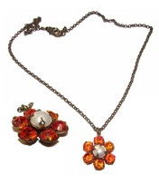 VINTAGE HAND MADE SPARKLY SWAROVSKI CRYSTALS FLOWER NECKLACE - $29.99