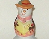 Hand Painted Ceramic Porcelain Christmas Carol Singing Snowman Bell