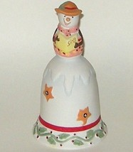 Hand Painted Ceramic Porcelain Christmas Carol Singing Snowman Bell - $7.00