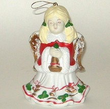 Hand Painted Ceramic Porcelain Red Gold Green Angel Bell - $7.00