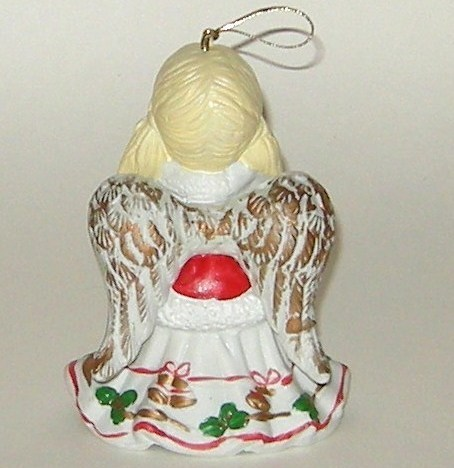 Hand Painted Ceramic Porcelain Red Gold Green Angel Bell