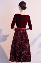 Burgundy Wine Red Half Sleeve Velvet Midi Dress High Waist Bridesmaid Midi Dress image 6