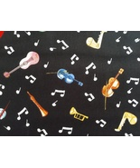 1/2 yard music/notes/multi-color instruments on black quilt fabric-free ... - $11.99