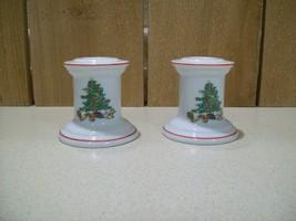 "Vintage Shibata Fine Porcelain Christmas Candlesticks 2 5/8"" T Japan Set... - $23.76"