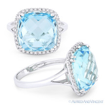 9.49ct Cushion Cut Blue Topaz Diamond Right-Hand Cocktail Ring in 14k Wh... - £562.13 GBP