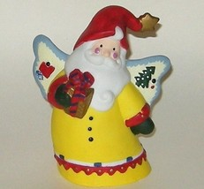 Hand Painted Ceramic Porcelain Bright Santa Claus Angel Bell - $9.00